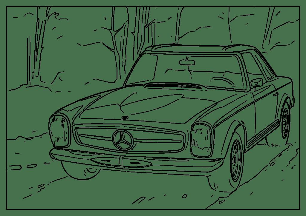 Omaľovánka auto Mercedes-Benz SL 63-67 (Pagoda)