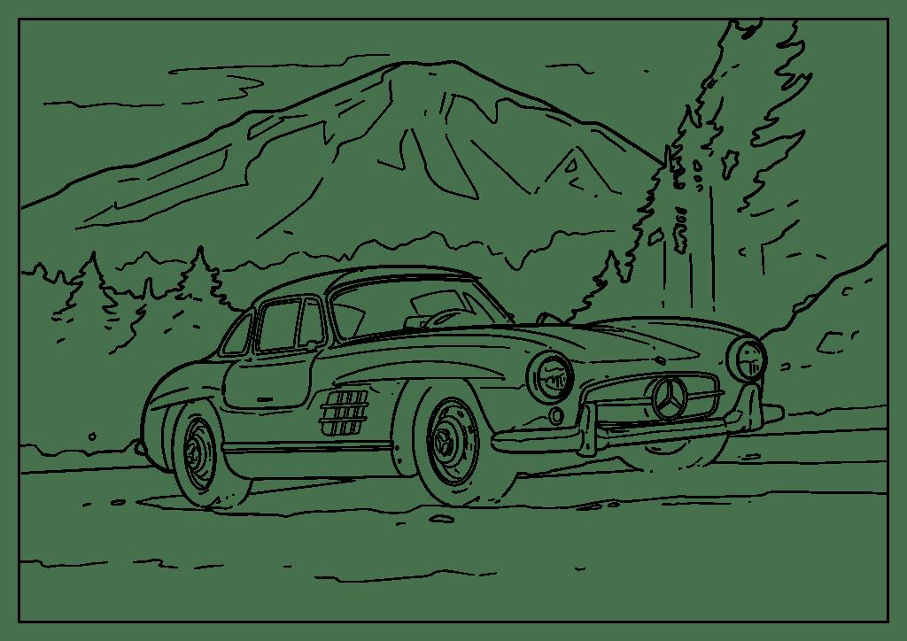 Omaľovánka auto Mercedes-Benz SL 54-63 (Gullwing)
