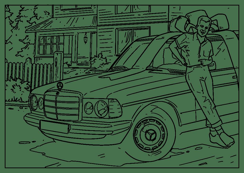 Omaľovánka auto Mercedes-Benz E 75-86 (Piano)