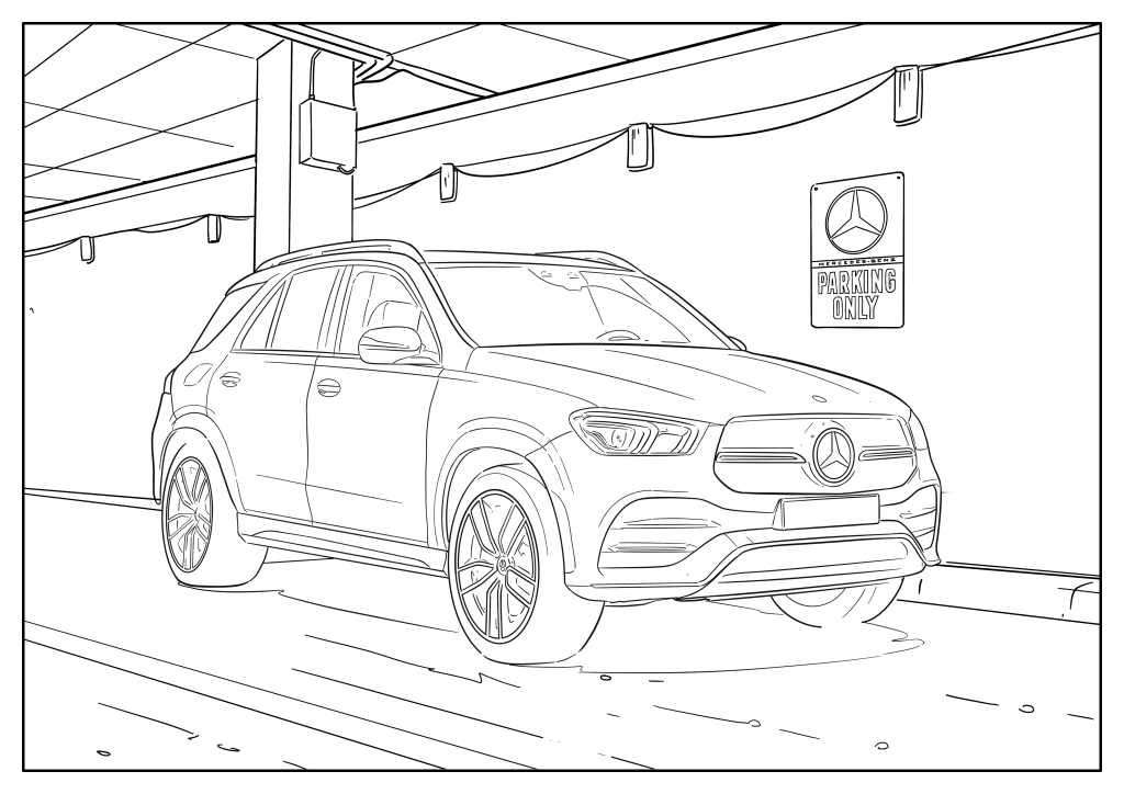 Omaľovánka auto Mercedes-Benz GLE (2019+)