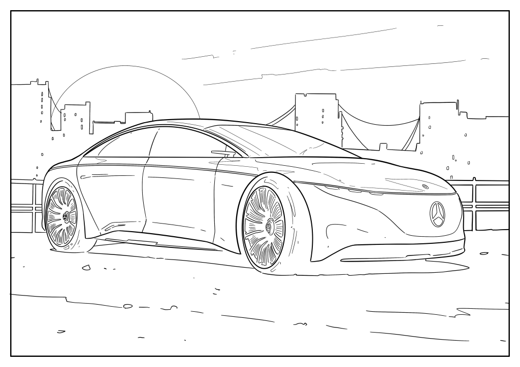 Omaľovánka auto Mercedes-Benz Vision EQS 2020