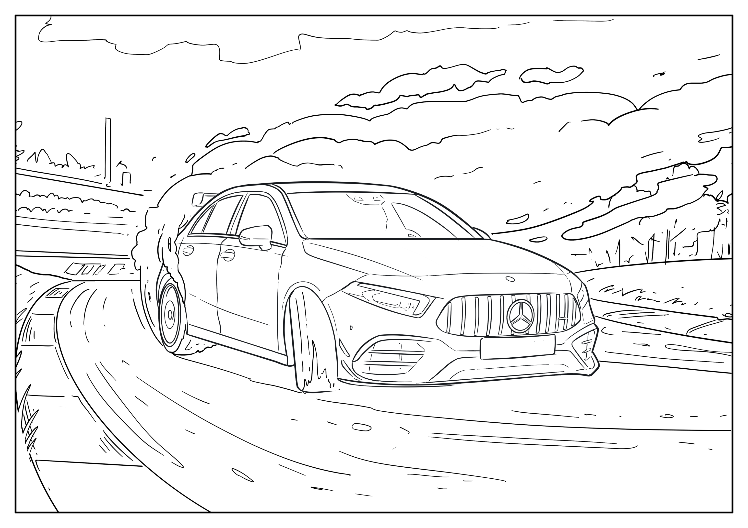 Omaľovánka auto Mercedes Benz Trieda C (2021+)